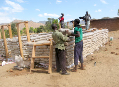 Construction of a sandbag house