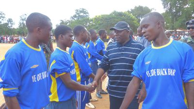 Hon Minister of Sports and Youth Chihana and players
